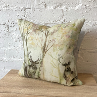 Handmade Watercolour Stag Cushion