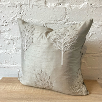 Silver Embroidered Silk and Beaded Cushion with Velvet Back