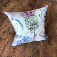 Bright Scottish Thistle Cushion with Checked Wool Back