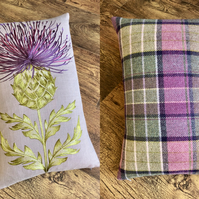 Purple Embroidered Thistle Statement Cushion with Tartan Backing