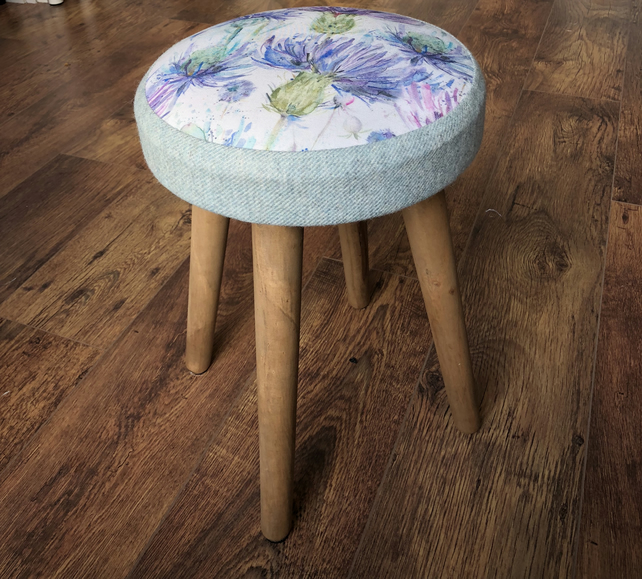 Watercolour Thistle with Light Blue Wool Stool