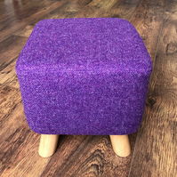 Square Footstool, Small, in Vibrant Purple Harris Tweed