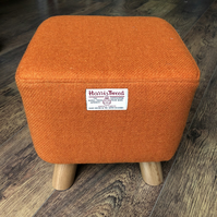 Small Square Footstool - Bright, Vibrant, Orange Harris Tweed