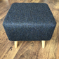 Large Square Footstool - Navy Blue Herringbone Harris Tweed