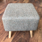 Square Footstool, Large, Light Brown Harris Tweed.