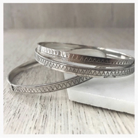 Sterling Silver Moroccan Bangle, Marrakech Bangle, Moroccan Tile Print design