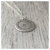 Kerala Mandala Pendant in Sterling Silver, Mandala Necklace, Lotus Flower