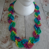 Rainbow Crochet Necklace, Cotton Statement Necklace, Boho Necklace, Handmade