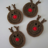 Reindeer Coasters, Crochet Reindeer Decoration, Set of 4