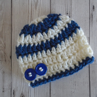 White and Dark Blue Baby Hat with Buttons, Newborn to 6 Months