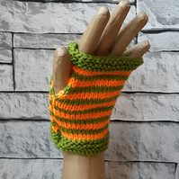 Green and Orange Striped Handknitted Fingerless Gloves, Wristwarmers