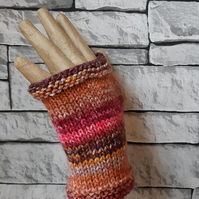 Pink and Brown Handknitted Fingerless Gloves, Wristwarmers