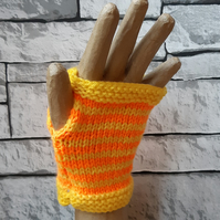 Orange and Yellow Striped Handknitted Fingerless Gloves, Wristwarmers