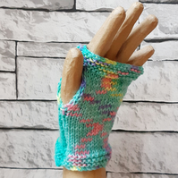 Turquoise Rainbow Handknitted Fingerless Gloves, Wristwarmers