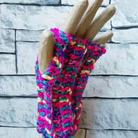 Rainbow Fingerless Gloves, Crochet Wristwarmers, Winter Accessory