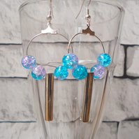 Pink and Blue Beaded Hoop Earrings