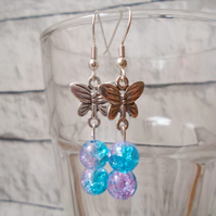Beaded Butterfly Earrings with Turquoise and Pink Beads