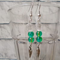 Green Beaded Drop Earrings with Silver Coloured Shell Charm