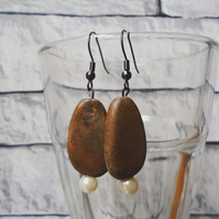 Wooden and Beaded Dangly Earrings, Handmade Jewellery, Boho Style