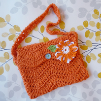 Chevron Stitch Orange Handbag, Small Crochet Bag, Flower Detail, Shoulder Bag,