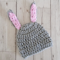 Rabbit Hat for a Baby, Baby Bunny Hat - Reduced