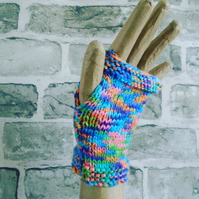 Rainbow Fingerless Gloves, Handknitted Winter Accessory, Wristwarmers