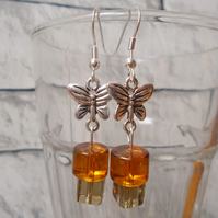 Beaded Butterfly Earrings with Amber and Clear Cuboid Beads