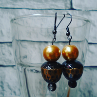 Black and Gold Beaded Drop Earrings with Black Wire