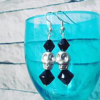 Silver and Black Dangly Skull Earrings, Handmade Jewellery