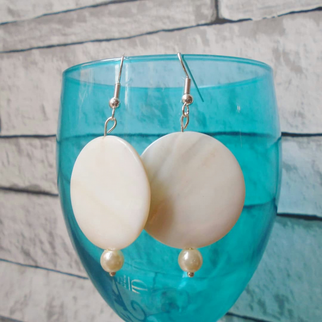 Cream Dangly Earrings with Large Round Stones, Party Jewellery
