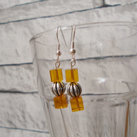 Light Amber and Silver Coloured Handmade Drop Earrings
