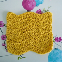 Yellow Face Cloth, Cotton Re-usable Flannel, Crochet Bathroom Accessory