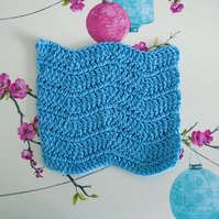 Blue Face Cloth, Cotton Re-usable Flannel, Crochet Bathroom Accessory