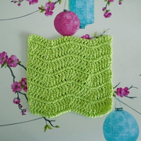 Green Face Cloth, Cotton Re-usable Flannel, Crochet Bathroom Accessory