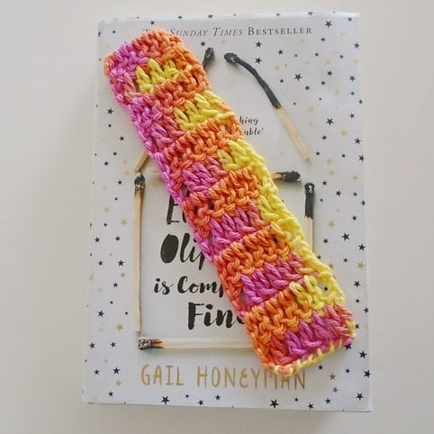 Orange and Pink Bookmark, Cotton Bookmark, Reading, Book Lover, Library Gift