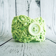 Green Crochet Bracelet, Cotton Bangle, Boho Jewellery, Summer Accessory