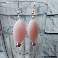 Pink Beaded Dangle Earrings, Boho Accessory