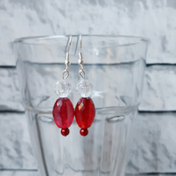 Red Dangle Earrings, Boho Accessory