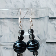 Black Beaded Dangle Earrings, Boho Accessory