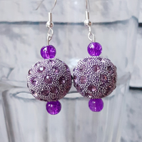 Pink Disco Ball Dangle Earrings, Boho Accessory