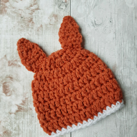 Fox Hat for a Baby, Crochet Photo Prop, Woodland Animal Gift