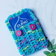 Tea Bag Wallet, Crochet Turquoise  Pouch