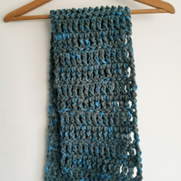 Super Chunky Blue and Grey Scarf, Acrylic Crochet Accessory