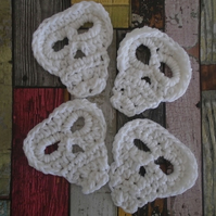 White Skull Coasters - Set of 4, Crochet Skull Decoration