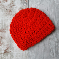 Red Baby Beanie Hat, Crochet Newborn Gift