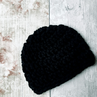Baby Beanie Hat in Black, Crochet Newborn Gift