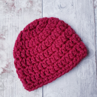 Baby Beanie Hat in Dark Pink Crochet Newborn Gift