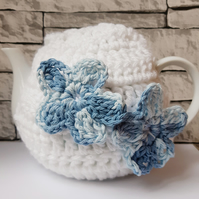 White Tea Cosy Decorated with Blue Flowers, Floral Cozy