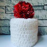 White and Red Toilet Roll Cover