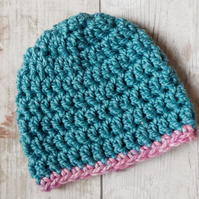 Teal and Pink Baby Beanie